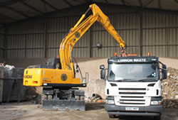 Skip Hire Harlow unloading a lorry for transfer